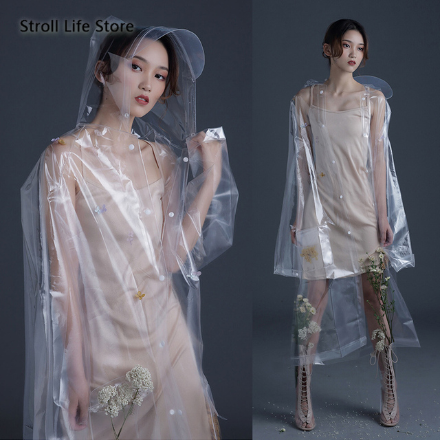 Transparent Long Rain Coat Women Adult Hiking Clear Raincoat Lengthened  Electric Motorcycle Rain Suit Poncho Plastic Suit Gift 1