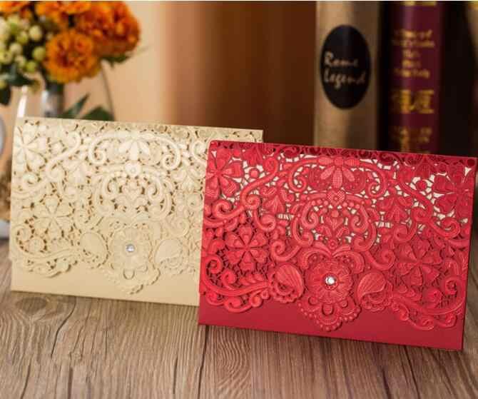 100 шт золотые красные Вырезанные лазером алмазные свадебные приглашения
