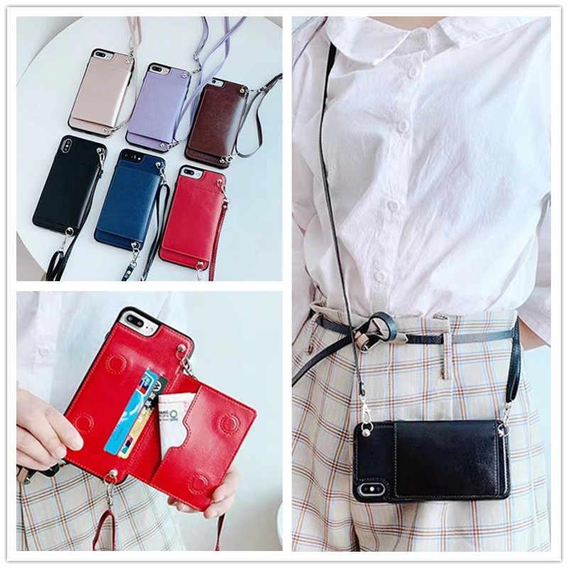 Ремешок для кошелька, чехол для iPhone 11 Pro MAX XR X 7 8 plus xs max 6 6s plus, чехол из искусственной кожи с ремешком на плечо для карт, сумка для телефона