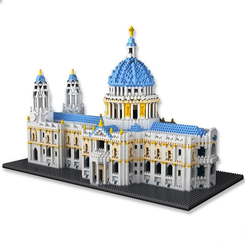 7053 шт. мини Мировая архитектура St Paul's Cathedral-звезды Ливи» 3D лондонского городского церкви кирпичное здание игрушки для детей подросткового в...