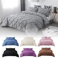 3pcs/set Pink Bed Sets Luxury Gray King Queen Double Size Bedding Set Comforter Home Duvet Cover Set