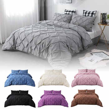 3pcs/set Pink Bed Sets Luxury Gray King Queen Double Size Bedding Set Comforter Home Duvet Cover Set - DISCOUNT ITEM  30% OFF All Category