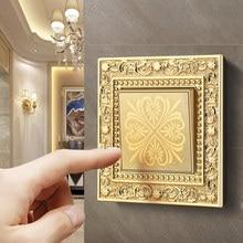 De lujo de metal pulido a mano interruptor de botón patrón grabado panel de control en la pared luz encendida interruptor/2/3 banda de 1/2 vías