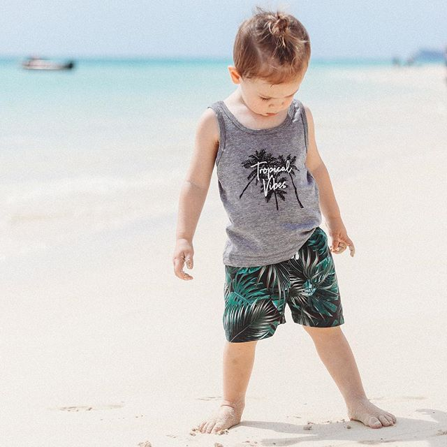 Fashion Summer Toddler Baby Boys Clothing Set Cotton Printed Tops T Shirt Shorts 2Pcs Infant Kids Children Outfits Beach Clothes