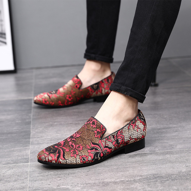 Мужские вечерние лоферы с вышитым цветочным узором; Мужская обувь; Удобная повседневная мужская обувь на плоской подошве; Zapatos Hombre|Повседневная обувь|   | АлиЭкспресс