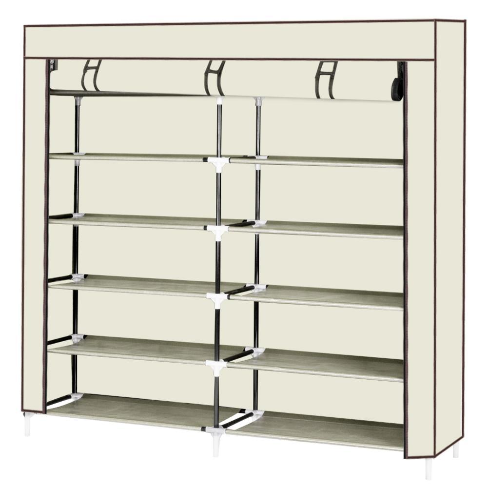 6 Tiers Portable Shoe Rack Organizer Cabinet Beige Non-woven Fabric Shoe Storage Rack Home Shoe Storage Box Room-saving