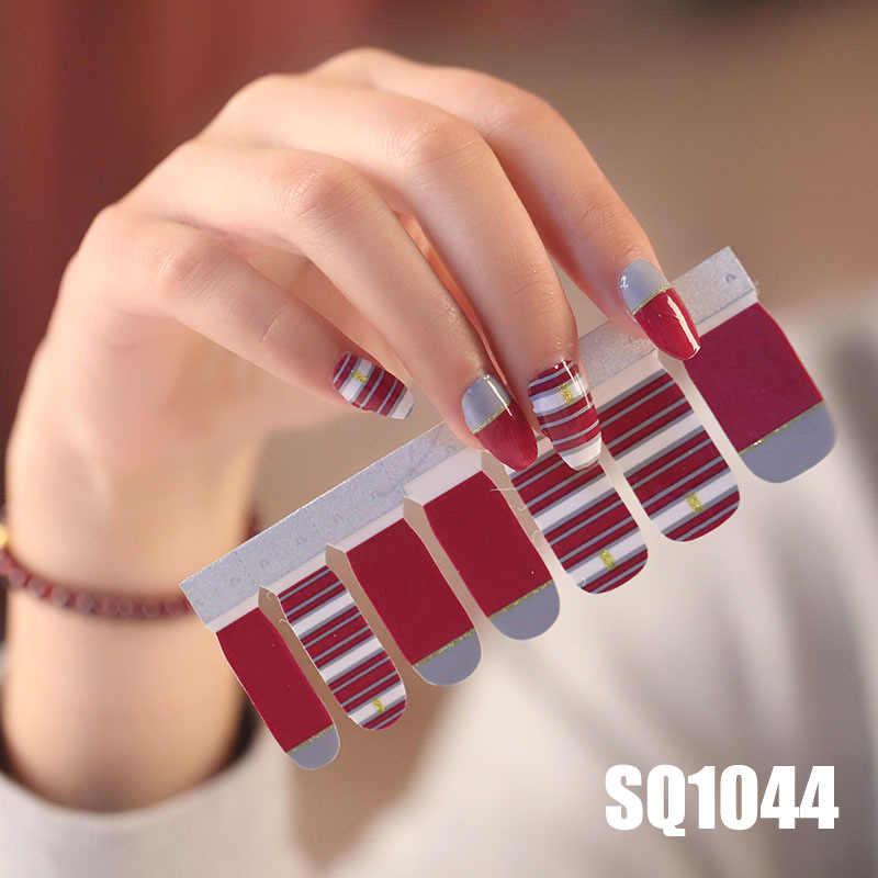 14 のヒント/シート韓国語バージョン多色ラップフルカバーネイルポリッシュステッカー Diy の接着剤ネイルアートの装飾