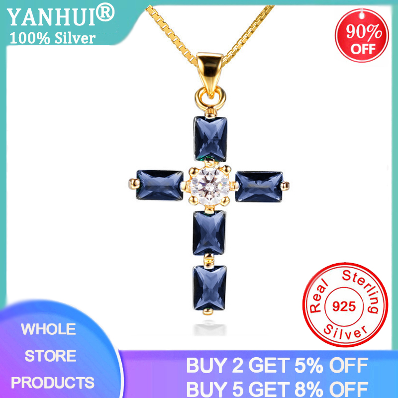 YANHUI New Design 18K Gold Color Cross Drop Statement Necklace Women Lab Blue Gemstone Sapphire Pendant Necklace ND487