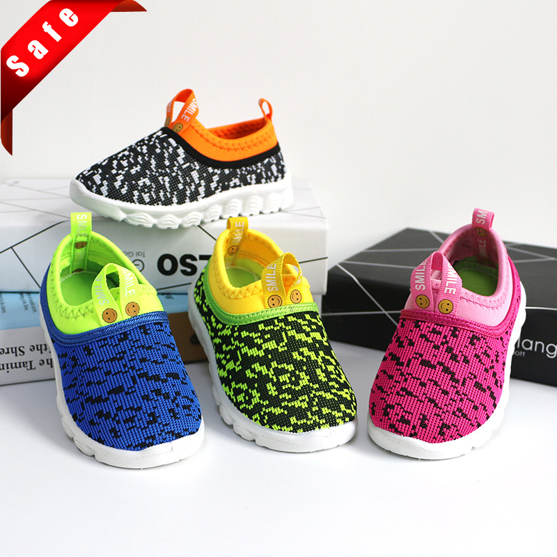 New Soft Kids Shoes Baby Boy Girl Shoes Candy Color Woven Fabric Air Mesh Children Casual Sneakers For Boys Girls