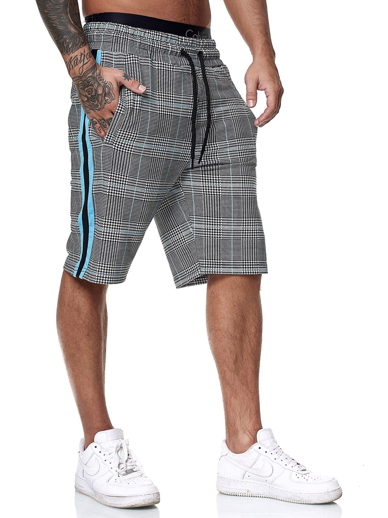 Clearance SaleGym Shorts Clothing Drawstring Fitness-Work Plaid Breathable Mens Summer Casual Elastic