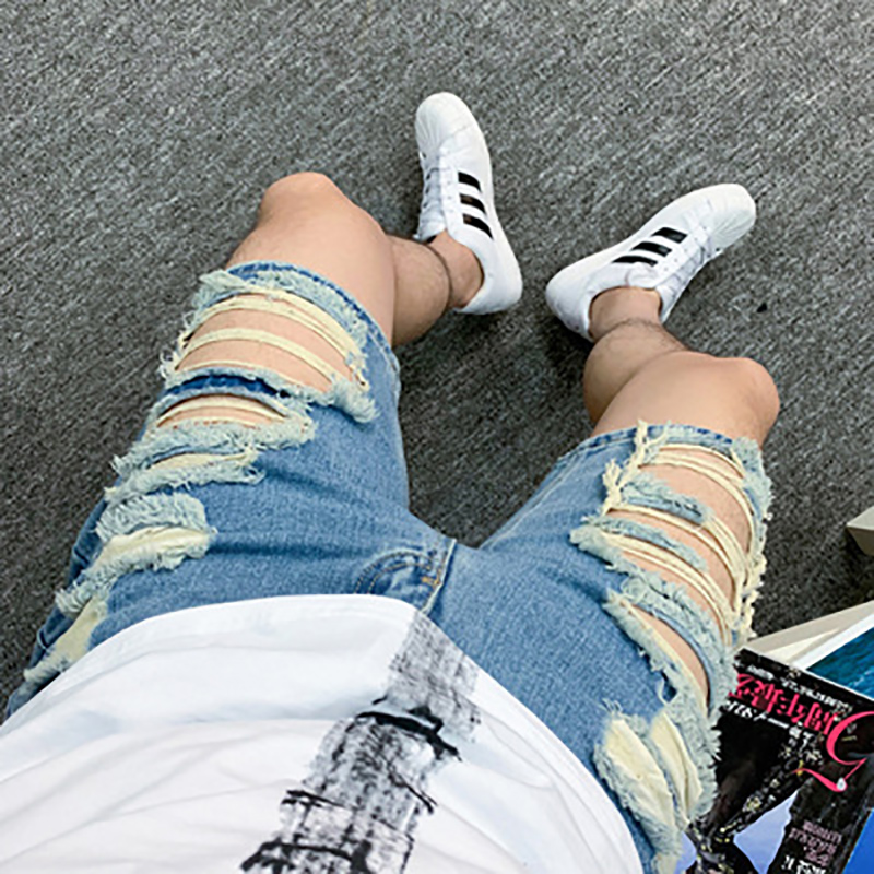 Summer Denim Shorts Tide Male Korean Version Of The Trend Five Points Pants Denim Shorts Hole Trousers Men's Boys Hip Hop