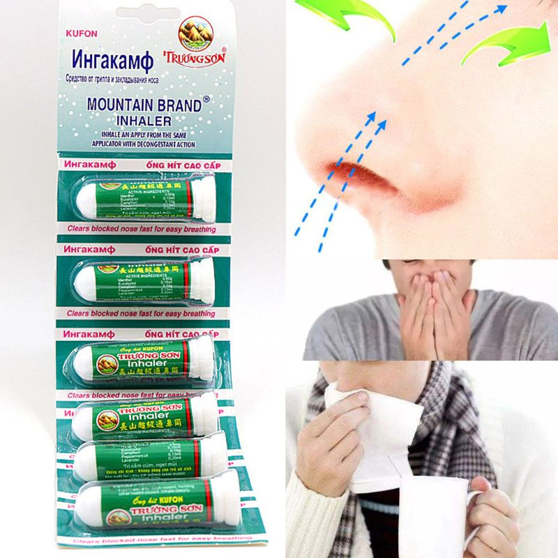 Natural Mint Herbs Rhinitis Inhaler Sinusitis Nasal Congestion Relief Itchy Allergy Runny Nose Medicine Treatment image