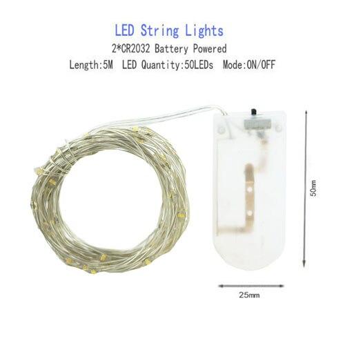 1/2/5/10 M Медный провод светодиодные огни строки праздник освещение гирляндой Рождественский венок для год свадебная вечеринка украшения - Испускаемый цвет: CR2032 Battery-5M