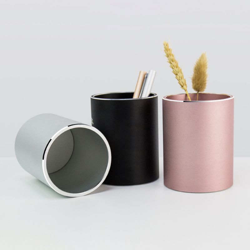 Aluminum Alloy Desk Pen Pencil Storage Organizer Cup Holder Container Stationery