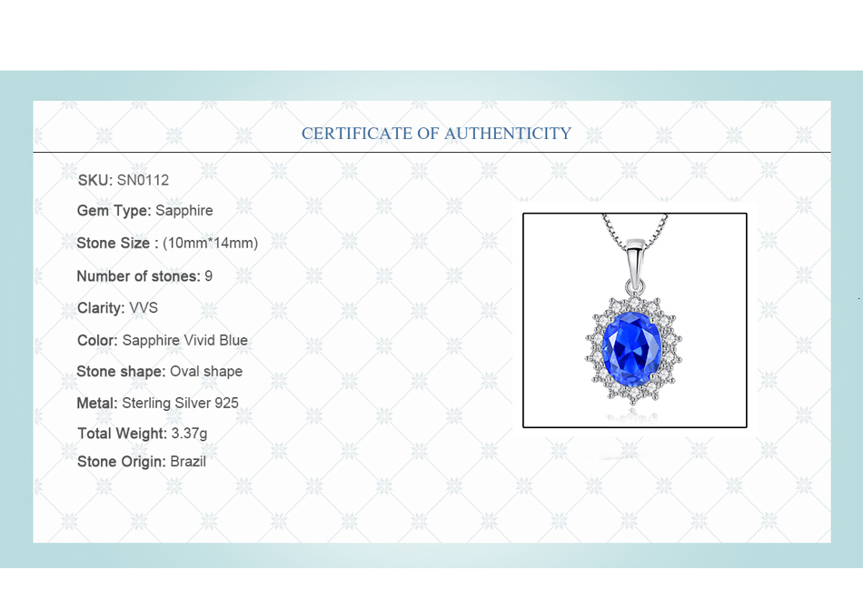 Ha7fa8eac54fb46d6a3f49da935cc32d8a CZCITY Elegant Oval Princess Diana William Sapphire Pendant Necklace for Women 100% 925 Sterling Silver Charms Necklace Jewelry