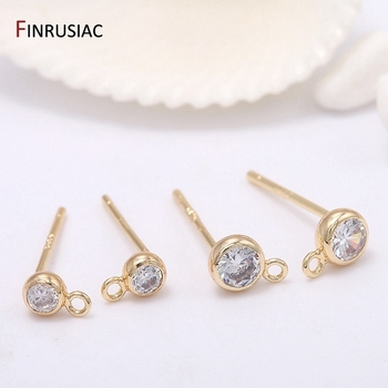 Earring Making Supplies 14k Gold Plated with Small Round Zircon Stud Earrings Hooks Accessories Earring Findings DIY Craft