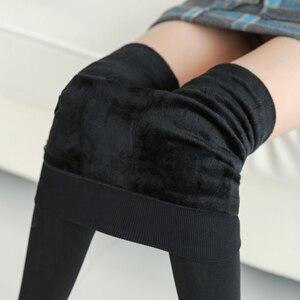 Image 1 - Женские теплые леггинсы NORMOV с высокой талией, эластичные плотные бархатные леггинсы, однотонные облегающие леггинсы для фитнеса, женские леггинсы