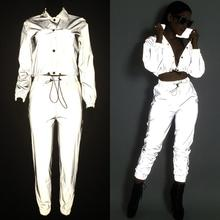 Women Tracksuits 2 Piece Set Reflective Zipper Crop Top Pant