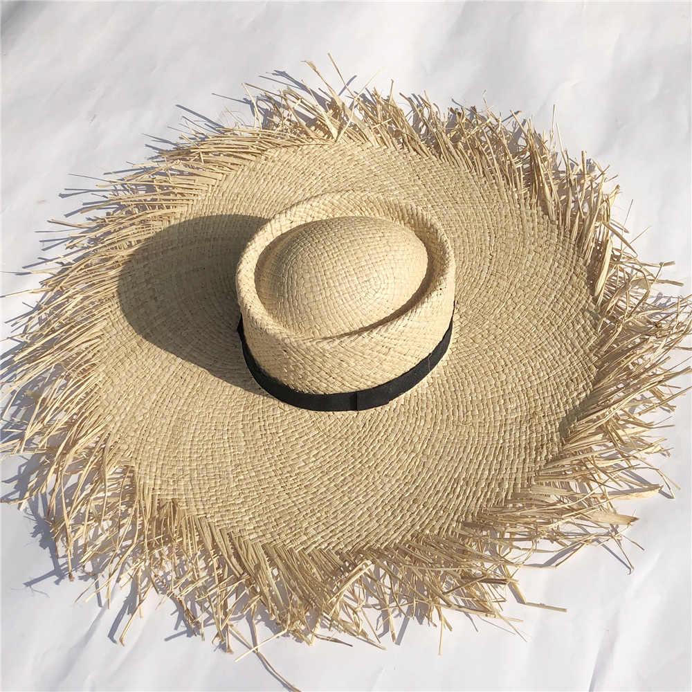 새로운 여성 대형 모자 빅 브림 20cm 라피아 태양 모자 와이드 브림 비치 모자 숙녀 부드러운 밀짚 그늘 모자 도매 Dropshipping
