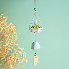 Resin Succulent Wind Chimes Iron Hanging basket Ceramic Aeolian Bells Miniature plants Decorations Creative Gifts(China)