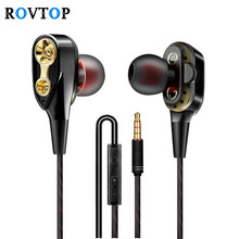 Rovtop Wired earphone High bass dual drive stereo In-Ear Earphones With Microphone Computer earbuds For Cell phone Z2(China)