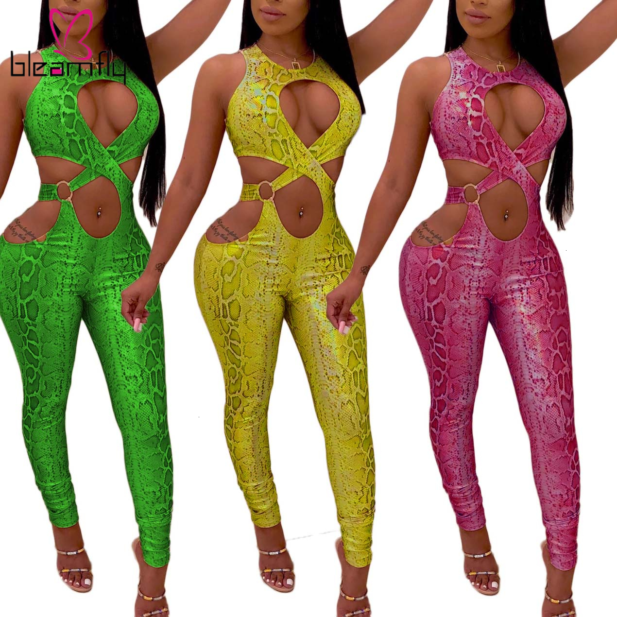 Sexy Off Shoulder Snake Jumpsuit Women Summer One Piece Playsuit Lace Up Neon Green Yellow Party Rompers Overall Streetwear