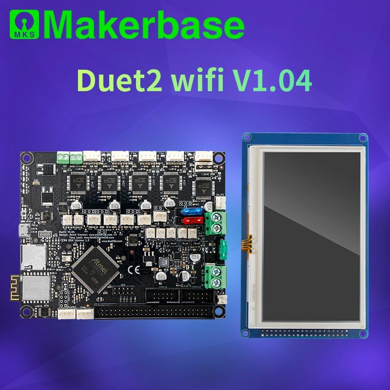 Makerbase 32 bit clonado dueto 2 wifi v1.04 placa com 4.3 ou 7.0 pandue touch screen para peças de impressora 3d cnc ender 3 pro