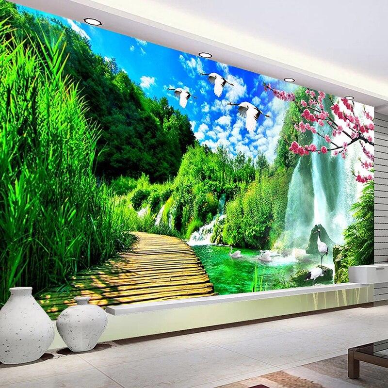 Kustom Lukisan Dinding Wallpaper Pemandangan Alam 3D Poster Tahan Air Kanvas Lukisan Dinding Wallpaper Foto untuk