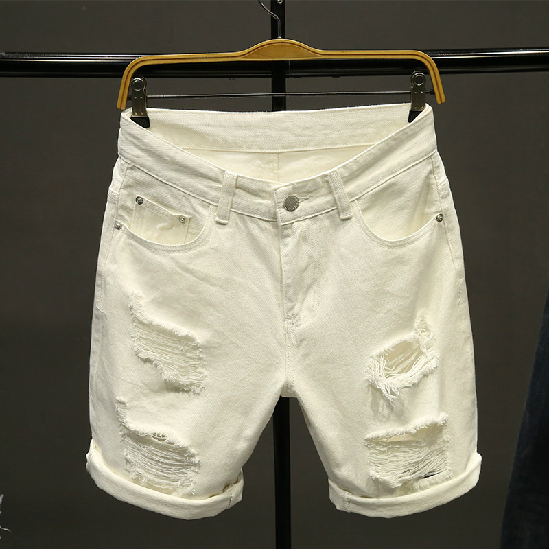 Summer White Men Ripped Loose Straight Jeans Short Fashion Hip Hop Bermuda Holes Male Solid Color Casual Beach Denim Shorts