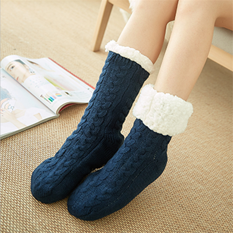 Top.Damet Thermal Fleece Unisex Winter Slipper Socks Deer Warm Cozy Fuzzy Fleece-lined Knee Highs Winter Floor Sock Gift