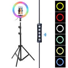 Anneau lumineux RGB de 10 pouces, avec trépied de 160cm, lampe annulaire pour photographie, intensité variable, 26cm, pour TikTok, vidéo Youtube de maquillage