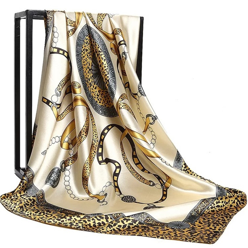 Silk Scarves For Women Print Foulard Satin Square Head Hijab Scarfs For Ladies Luxury Brand Shawls 90*90 Bandana Large Scarf