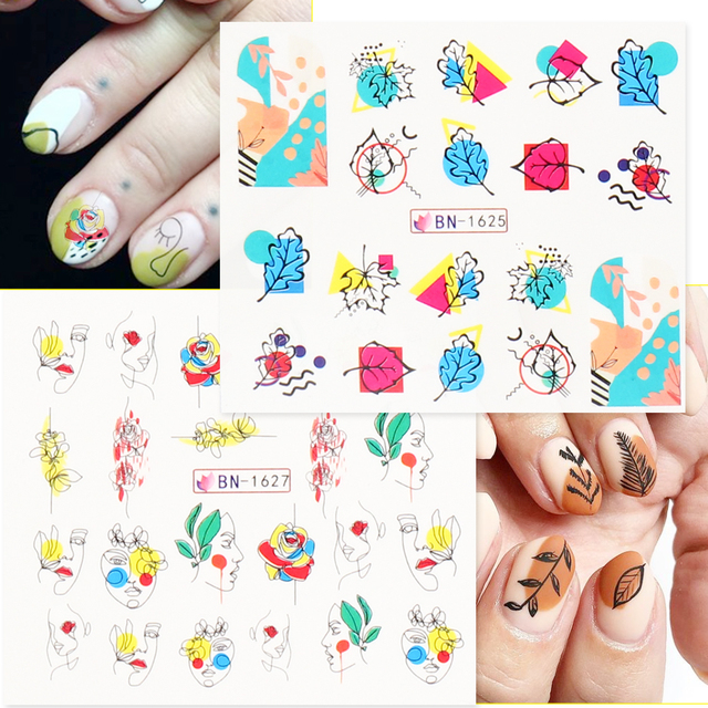 12pcs Colorful Abstract Nail Stickers Decals Set Fruits Geometry Mix Slider Winter Tattoo Watermark Manicure Decor CHBN1621-1632