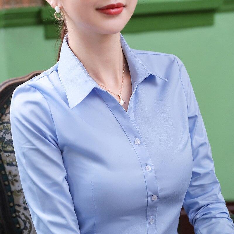 Купить рубашка с треугольным вырезом для женщин длинным рукавом slim