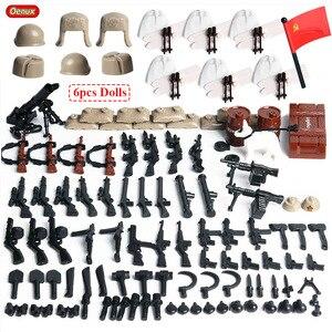 Image 2 - Oenux WW2 la battaglia di mosca scene militari piccolo blocco da costruzione Mini soldato dellesercito russo sovietico figura mattone blocco giocattolo per bambini