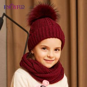 ENJOYFUR Scarf-Set Hat Set Knitted Winter Children And Girls for High-Quality Cotton