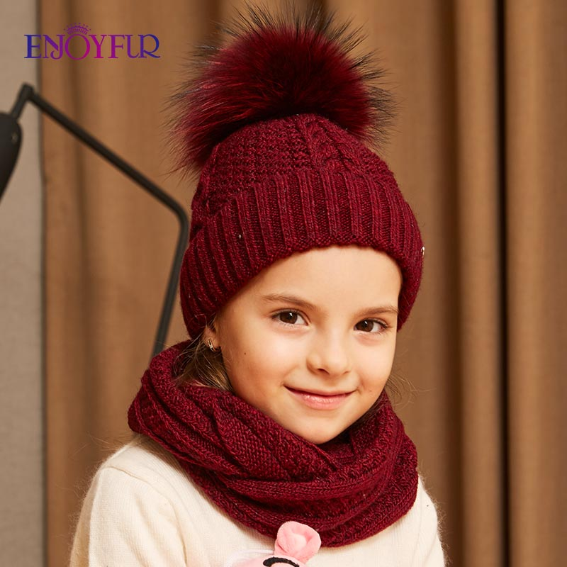 ENJOYFUR Winter Hat And Scarf Set For Girls High Quality Cotton Knitted Soft Hat Girl Thick Boy Caps Children Warm Hat Set