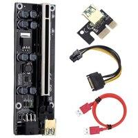 10 Uds VER009S más PCI-E Riser Card 009s adaptador PCI Molex 6Pin SATA a USB 3,0 Cable 1X 16X Extender para la extracción de GPU