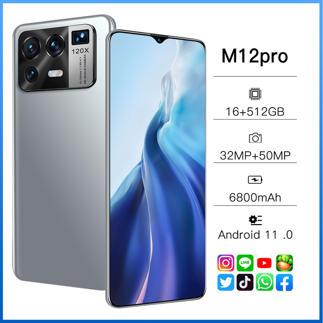 "M12 Pro 5G Network 6800mAh 32+50MP MTK6889 Dual SIM HiFi Android  16GB RAM 512GB ROM GPS 6.7"" Global Smartphone 6"