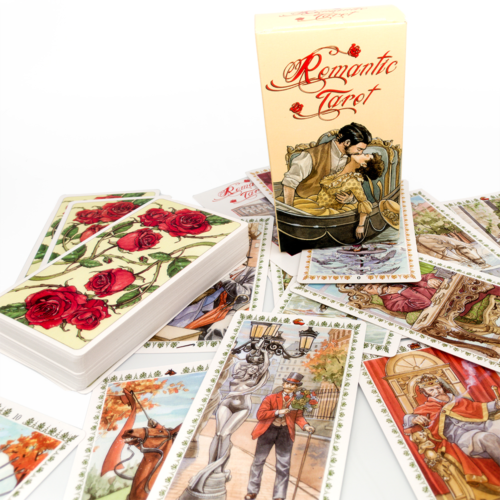 Romantic Tarot Cards Five Languages English Spanish French Italian Germany Table Deck Board Game Party Playing Card Games