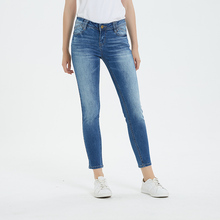 2019 Jeans Woman Mid Waist Ankle-Length Streetwear Cotton Light Washes Pencil Pants Plus Size 3XL
