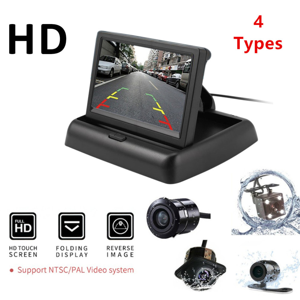 Backup-Camera Monitor-Display Folding Universal Car-Reversing-Assistance-Kit Rear-View title=