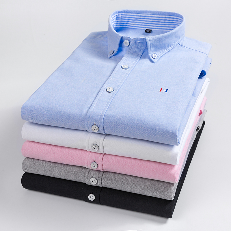 Casual puro algodão oxford camisas dos homens manga longa bordado logotipo design regular ajuste moda à moda