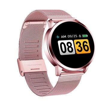 Розовые Смарт-часы Q8 Plus, OLED цветной экран, умные часы для женщин, модный фитнес-трекер, монитор сердечного ритма, браслет для ios andriod >> TROZUM Factory Store