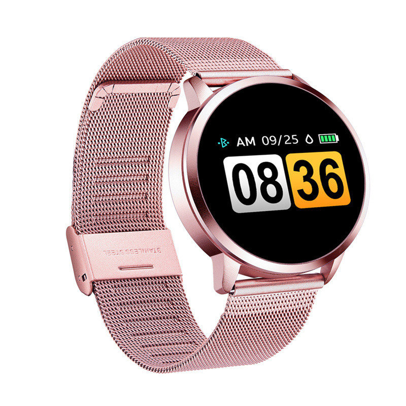Rose Smart Watch Q8 Plus <font><b>OLED</b></font> Color Screen Smartwatch women Fashion Fitness Tracker Heart Rate monitor Wristband for ios andriod image