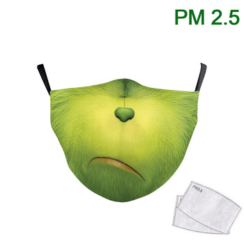 Cute The Grinch Kids Mask 3D Print Face Mask Fabric Washable Mouth-Muffle Outdoor Reusable PM 2.5 Protective Dust Mask