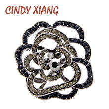 CINDY XIANG Rhinestone Camellia Flower Brooch Vintage Elagnt Coat Brooches For Women Fashion Jewelry Black Color Wedding Pin