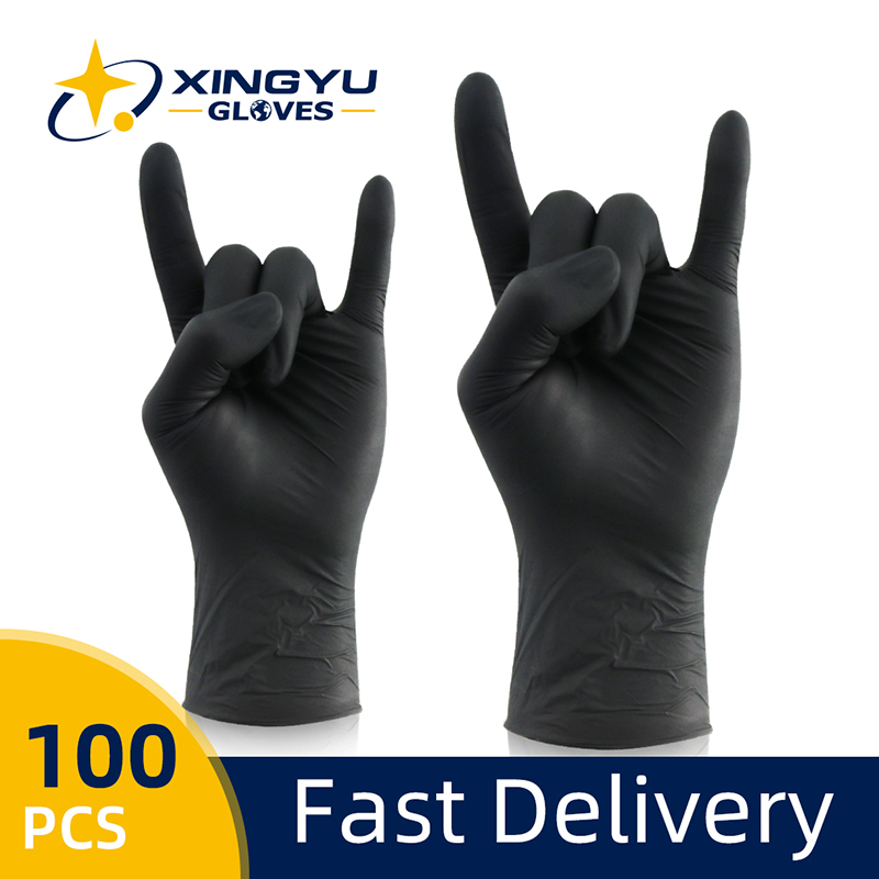 Nitrile Gloves Black 100pcs/lot Food Grade Waterproof Allergy Free Disposable Work Safety Gloves Synthetic Nitrile Gloves