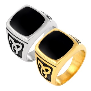 Панк кольцо из нержавеющей стали с большим черным камнем квадратное кольцо для мужчин золотой цвет для мужчин ювелирные изделия винтажные ...