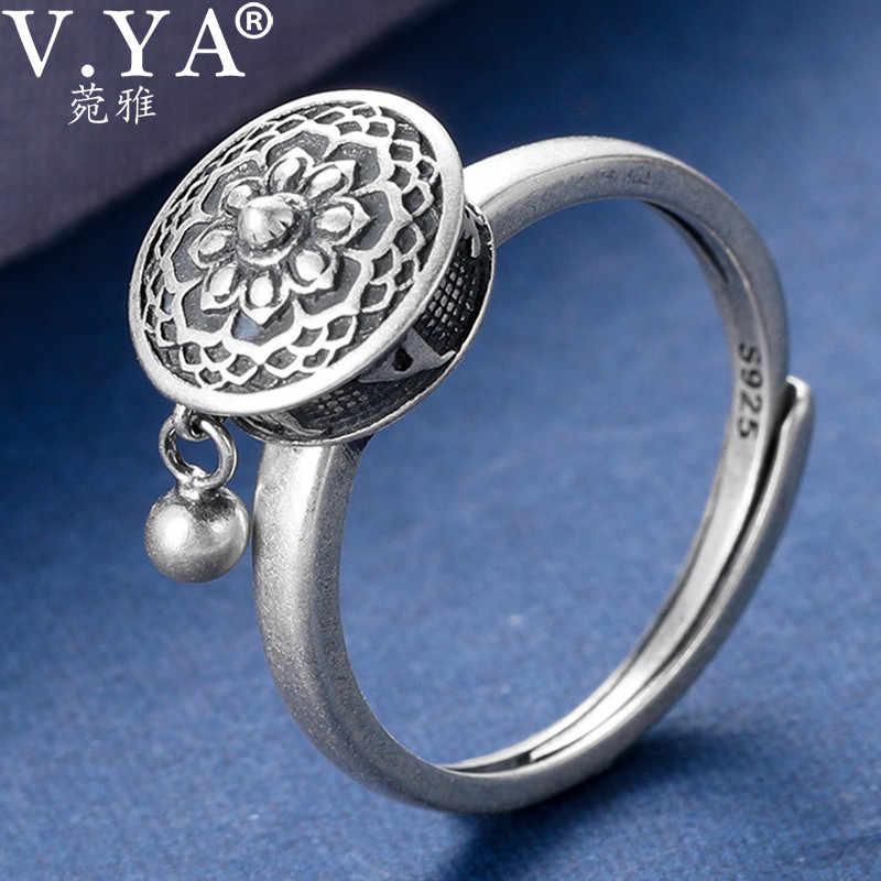 V. YA 100% 925 anillo budista de plata para mujeres anillo de rueda de oración tibetana OM anillo mantra buena suerte anillo de mujer
